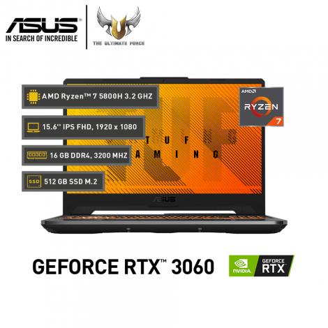 ASUS TUF GAMING A15 FA506QM, AMD Ryzen 7 5800H, GeForce RTX™ 3060, 16GB RAM, 512GB SSD NVMe, 15.6'' IPS 144 Hz