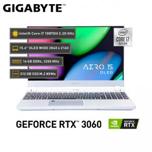 "Gigabyte AERO 15 OLED KC Silver, Intel® Core™ i7-10870H, GeForce RTX™ 3060P, 16GB DDR4, 15.6"" UHD"