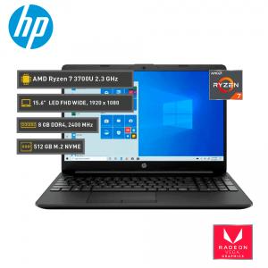 HP 15-GW0013LA AMD Ryzen 7 3700U 2.3 GHz, 8 GB  DDR4, M.2 NVMe 512 GB, 15.6'' FHD
