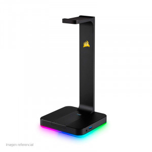 Soporte para Auriculares Corsair ST100 RGB, aluminio, conector 3.5mm, USB 3.1, Negro.